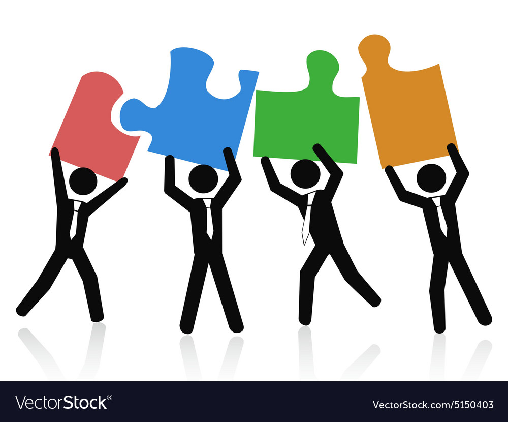 Team Of Business People Holding Jigsaw Puzzle Vector Image