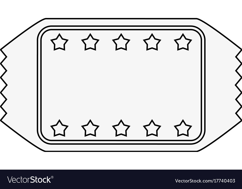 Ticket blank star frame icon image Royalty Free Vector Image