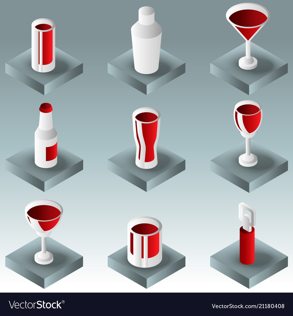 Alcohol color gradient isometric icons