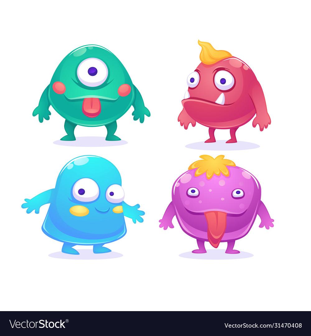 Cute cartoon monsters characters set