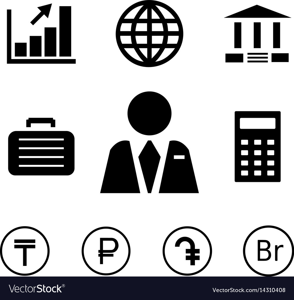 Finance And Bank Icons With Currency Symbols Vector Image