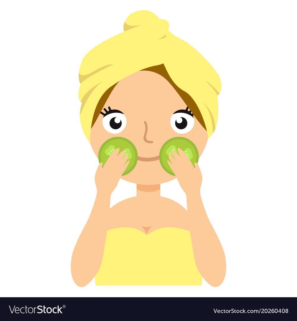 Girl doing cucumber mask portrait flat cartoon vector image