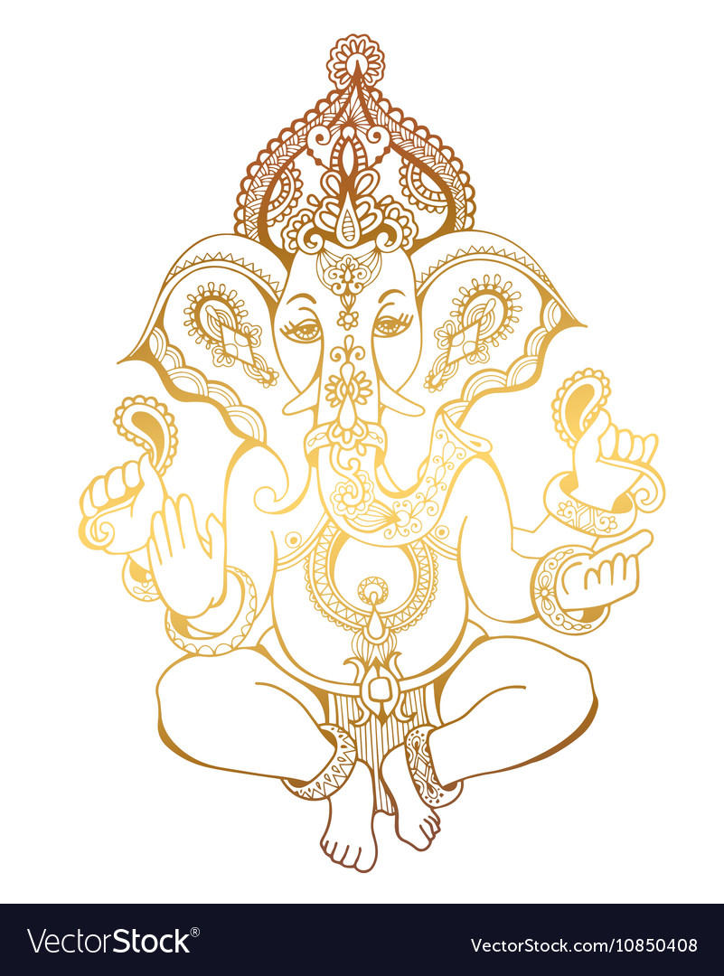 Hindu lord ganesha ornate sketch drawing tattoo