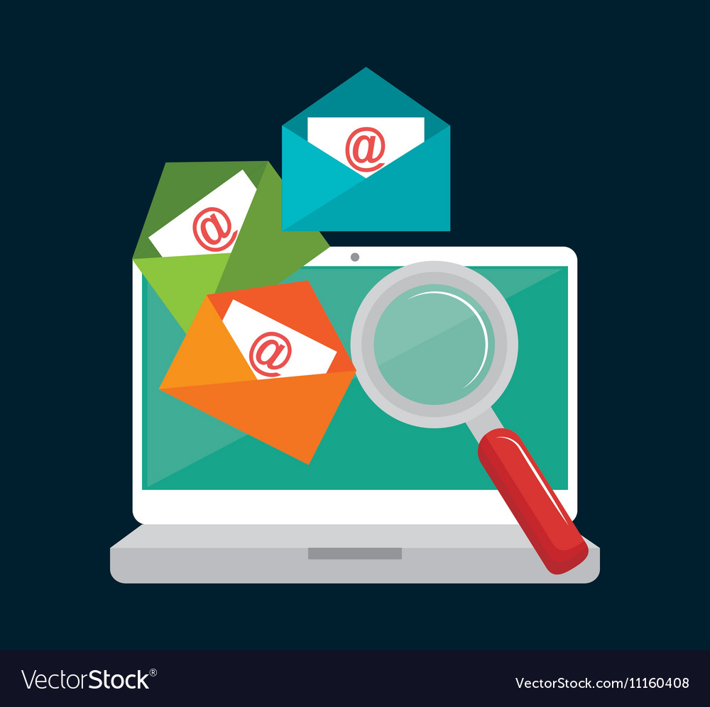 Laptop email searching data icon design