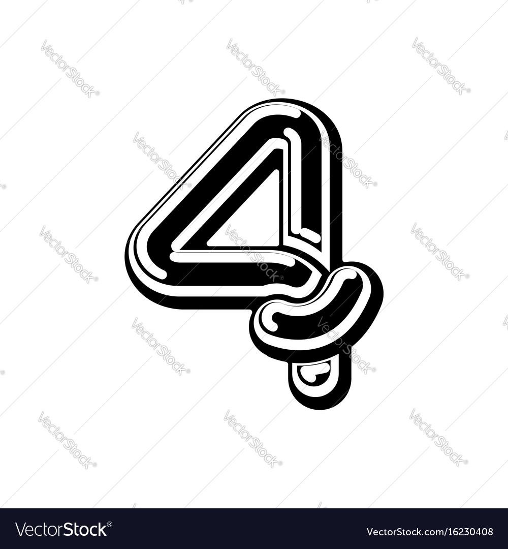 Number 4 celtic font norse medieval ornament abc
