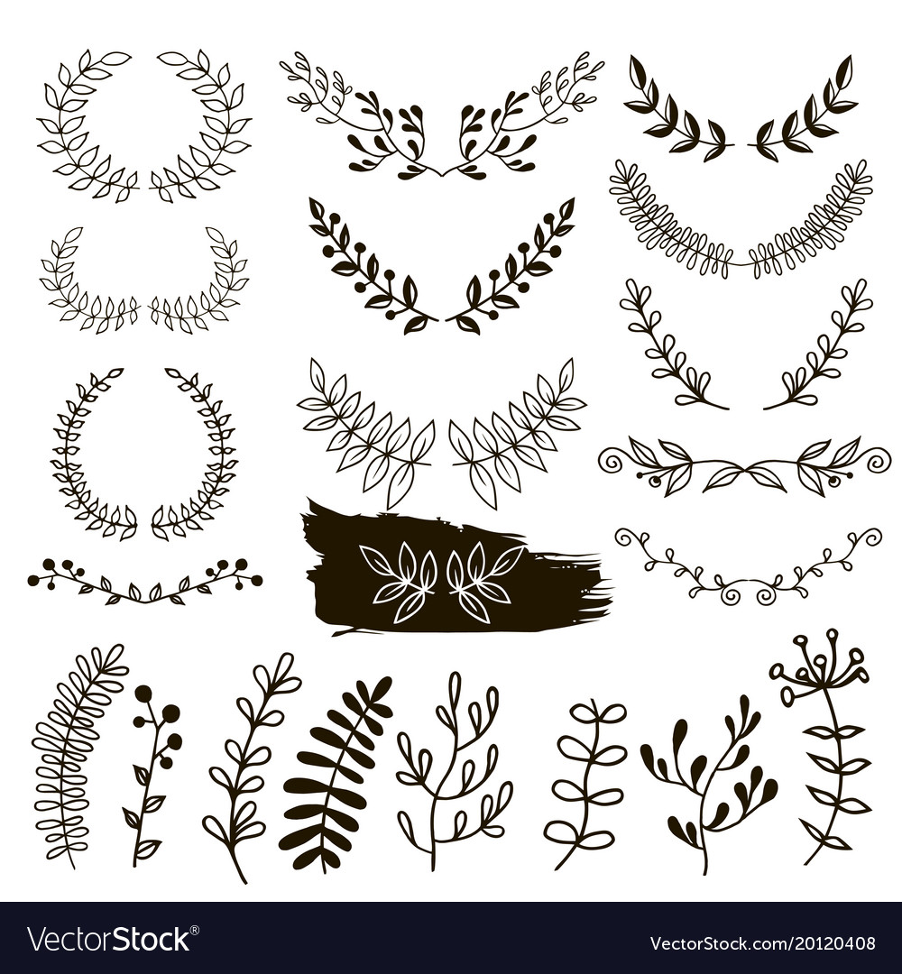 Plants doodle border wreath vector