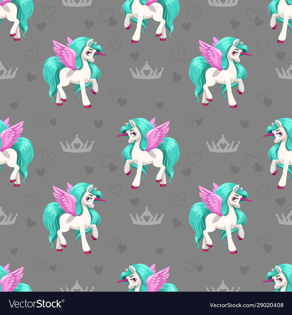 Pretty unicorn seamless pattern for girls