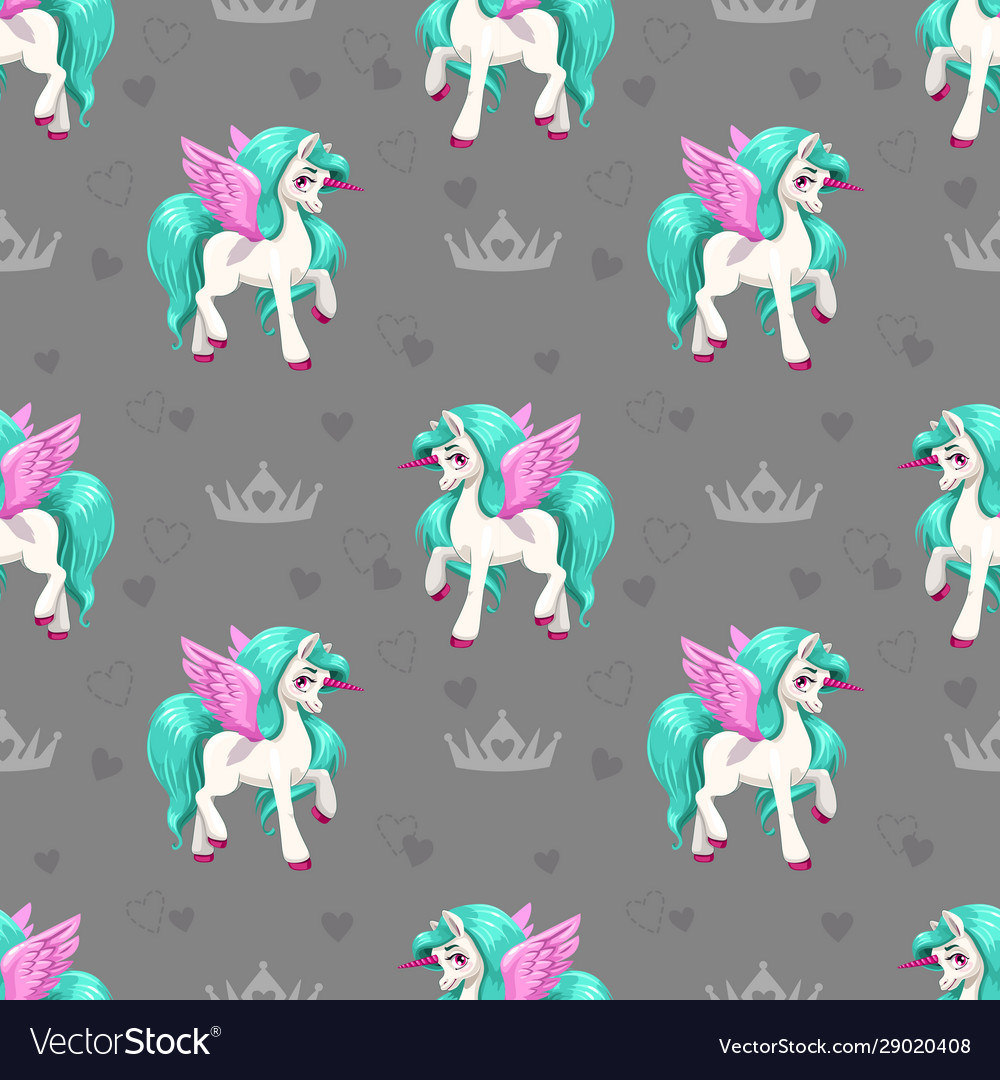 Pretty unicorn seamless pattern for girls with