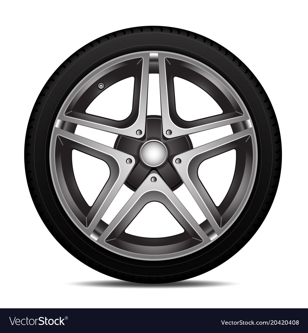 Realistic car tire wheel alloy with tire