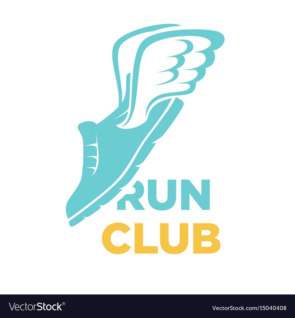 Run club icon of sport sneaker shoe and