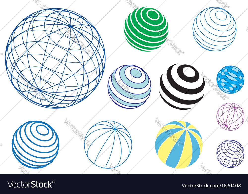 Set of globes and balls vector image