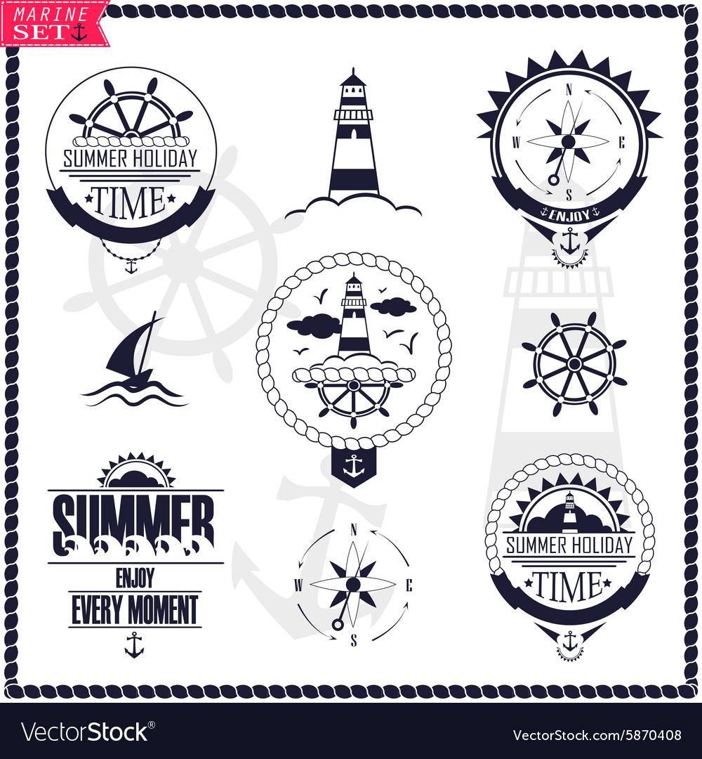 Set of vintage marine logos logotypes and badges