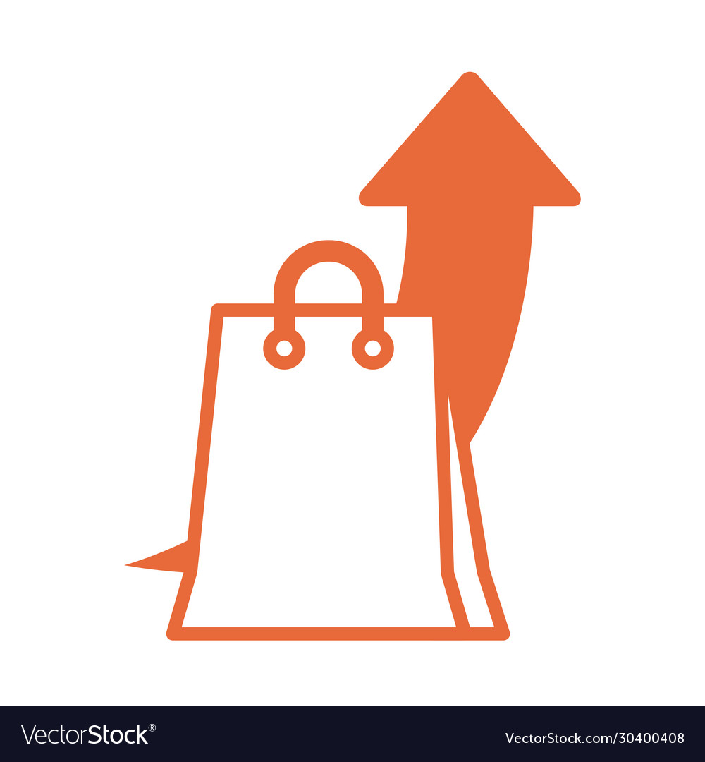Shopping bag with arrow up infographic line style