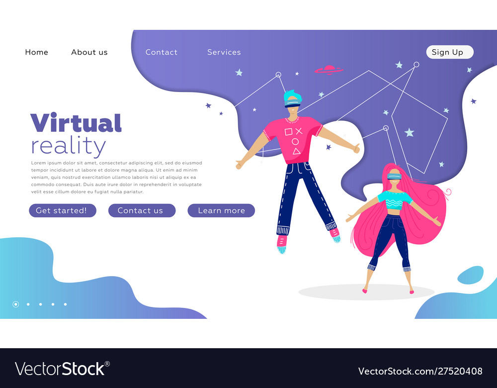 Young man and woman in virtual reality glasses on