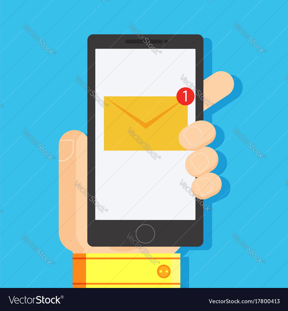 A new message on the phone in the mans hand vector image