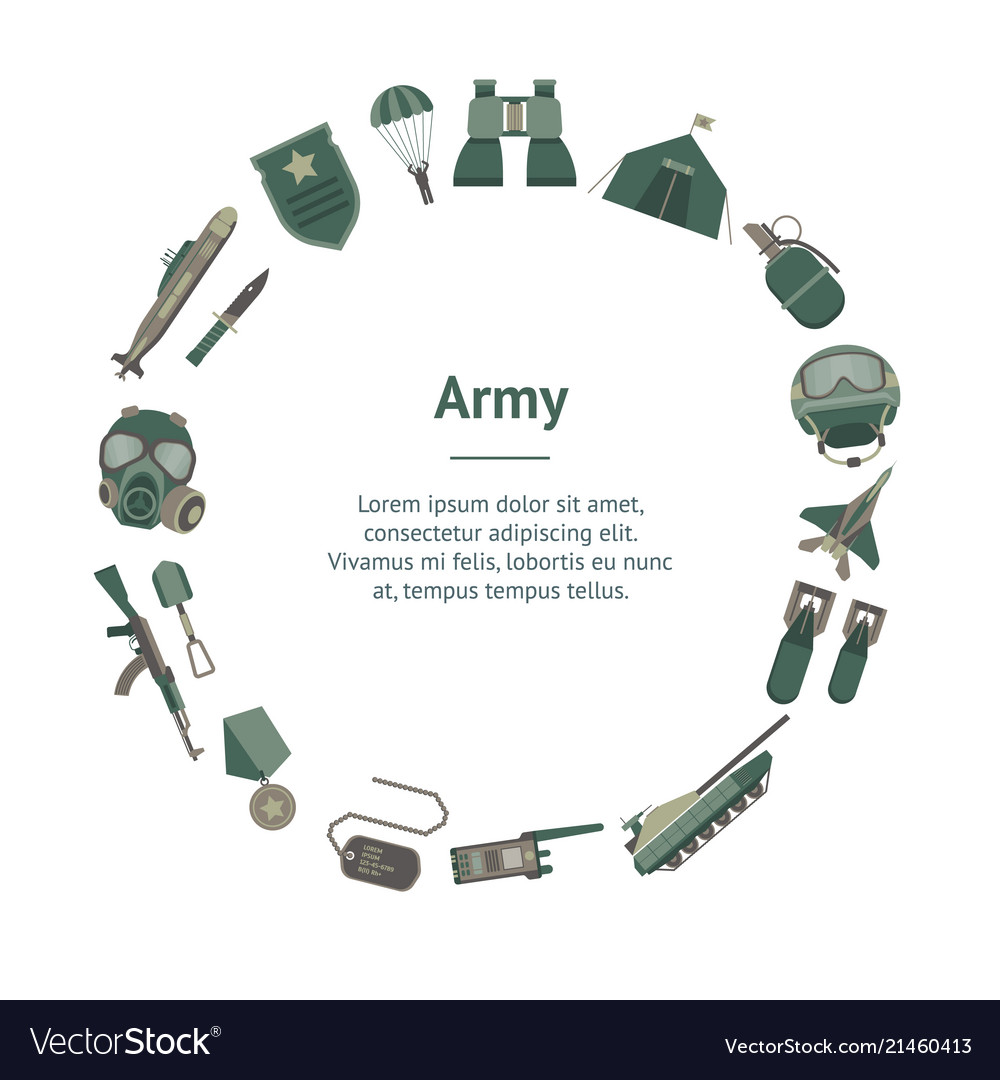 Cartoon color army weapons banner card circle