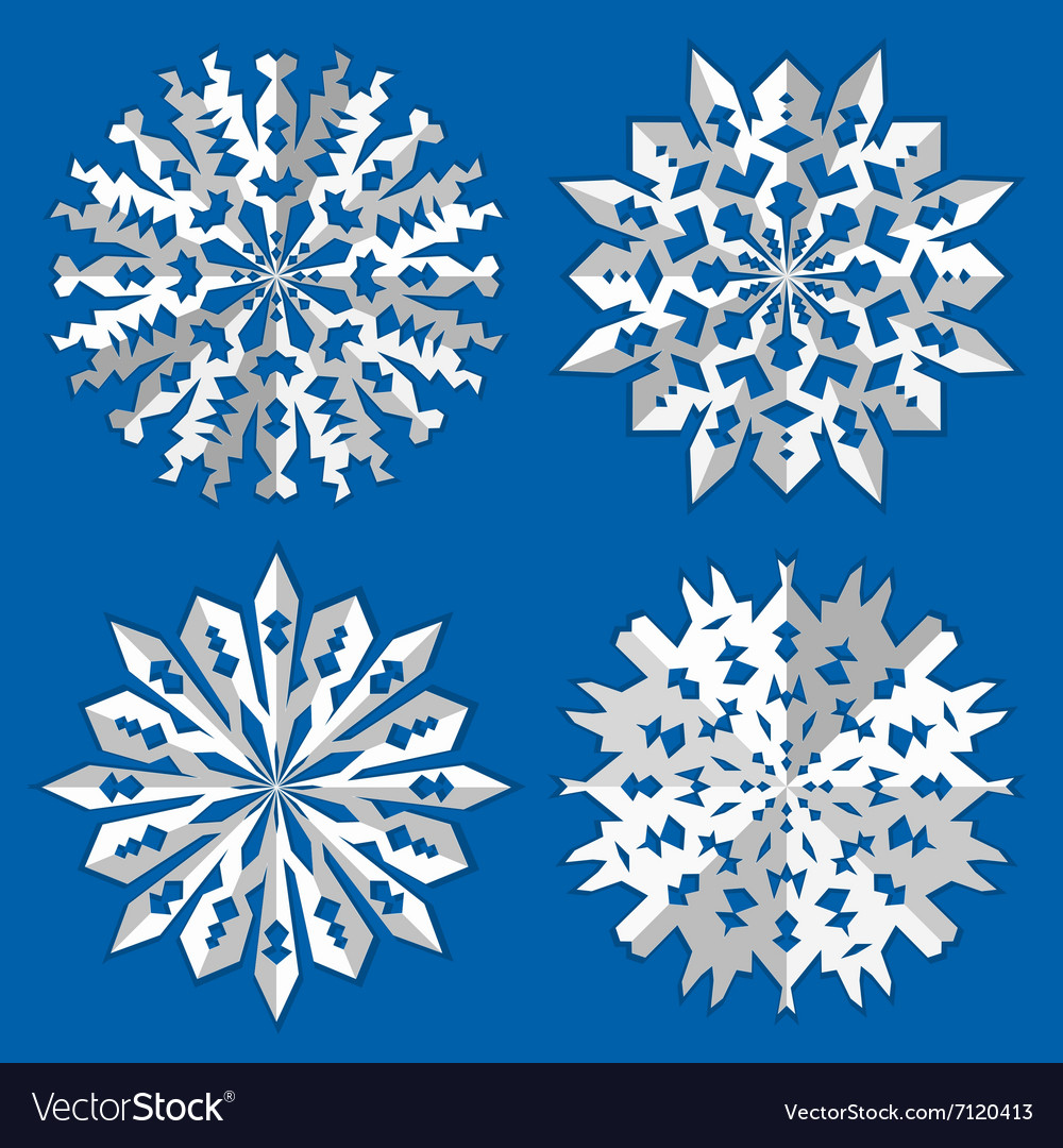 Christmas snowflake icon set Paper origami cut vector image