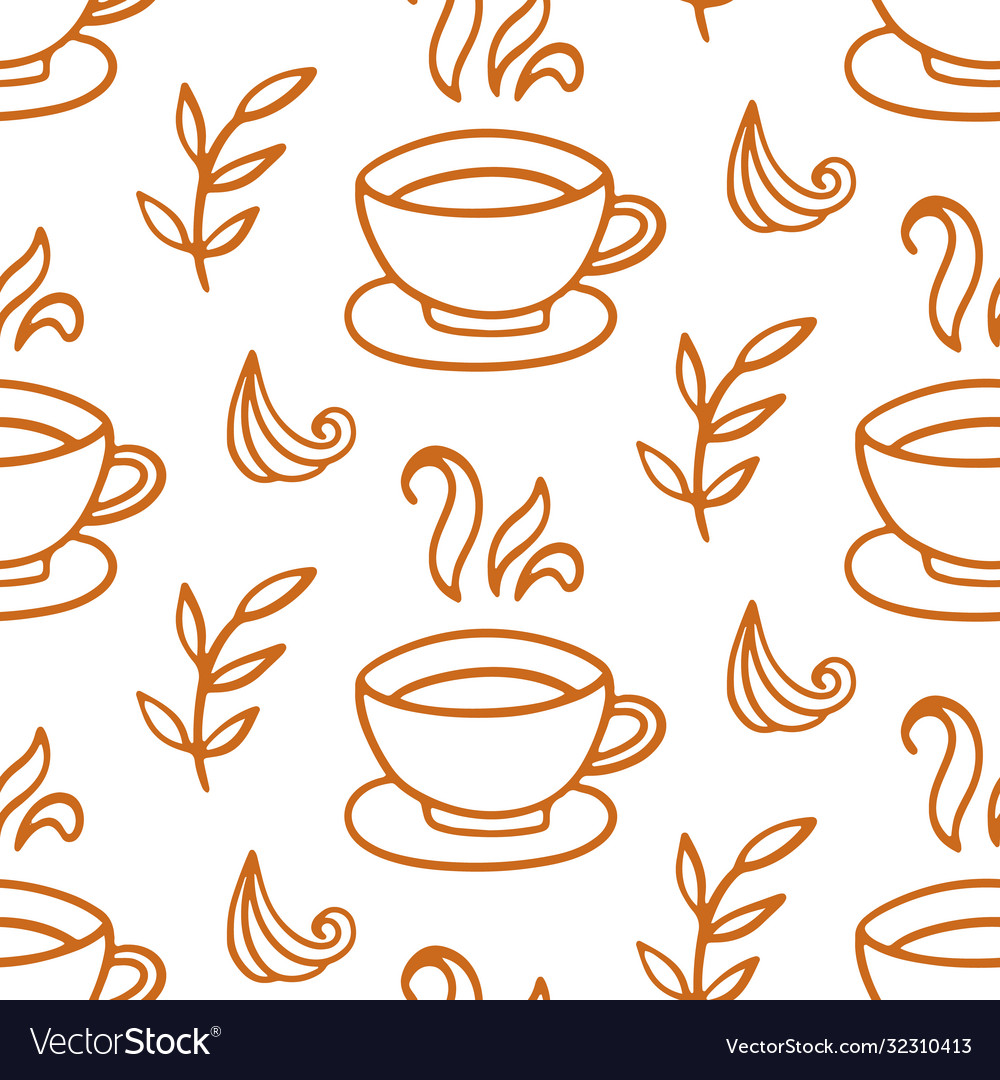 Coffee cup seamless pattern hand drawn background