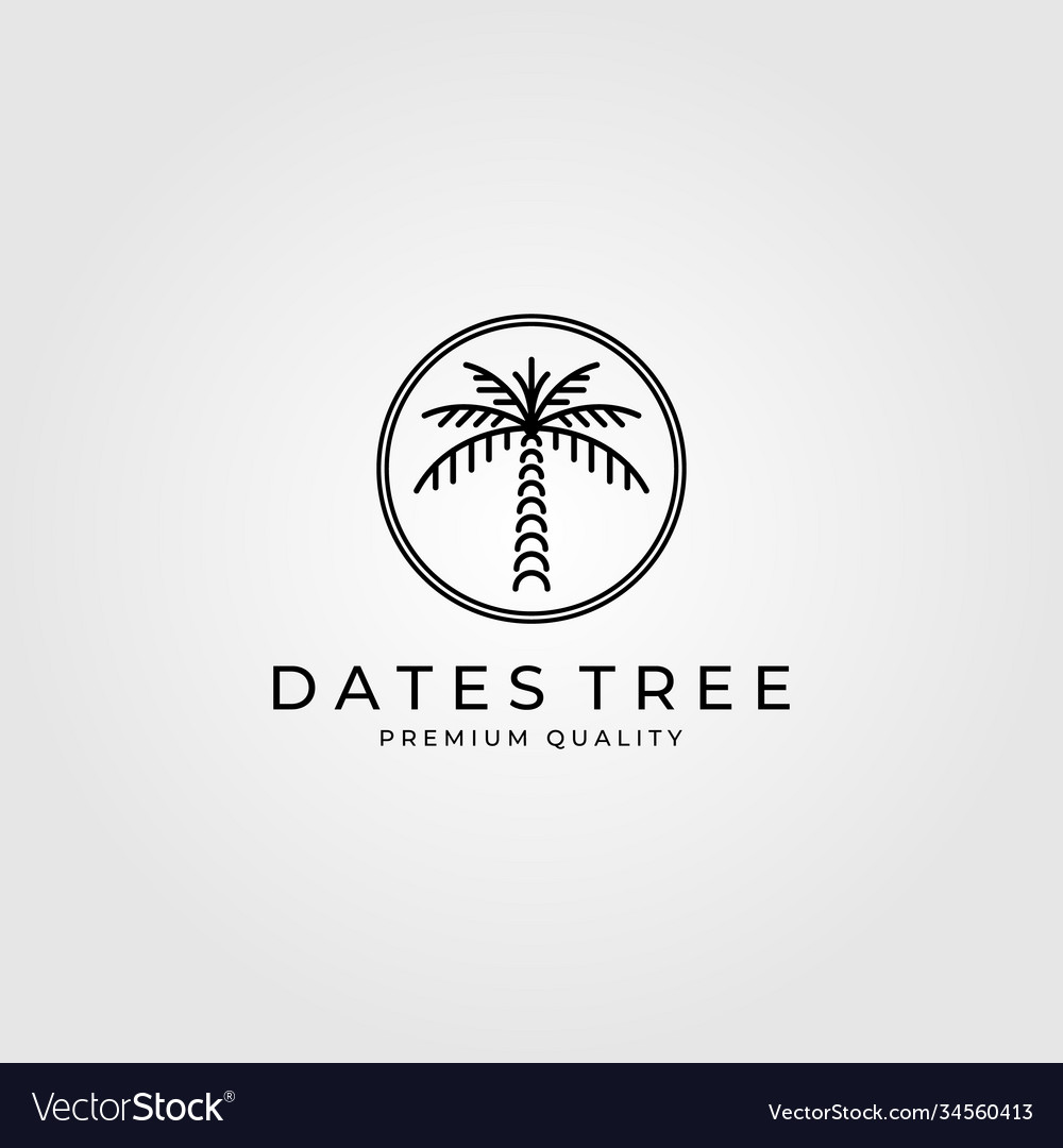 Dates palm tree logo line art design minimalist Vector Image