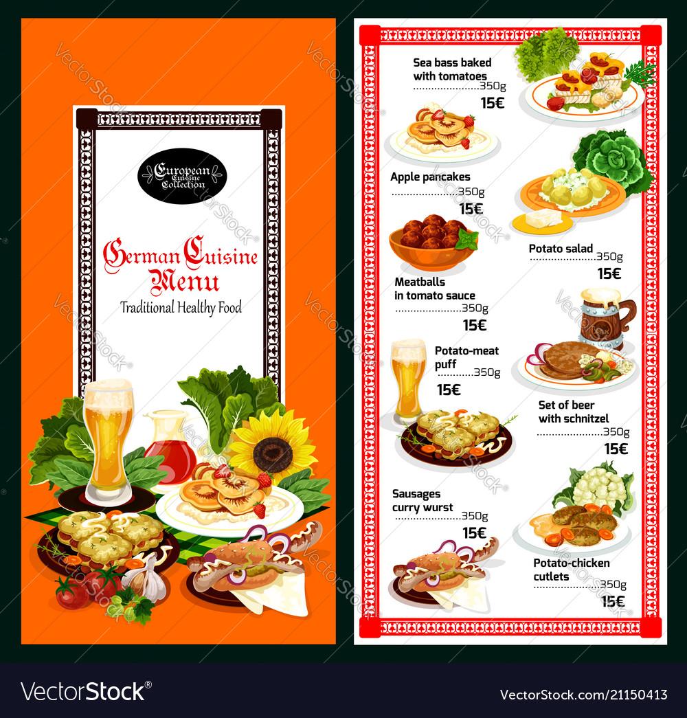 German Cuisine Restaurant Menu Template Design Vector Image