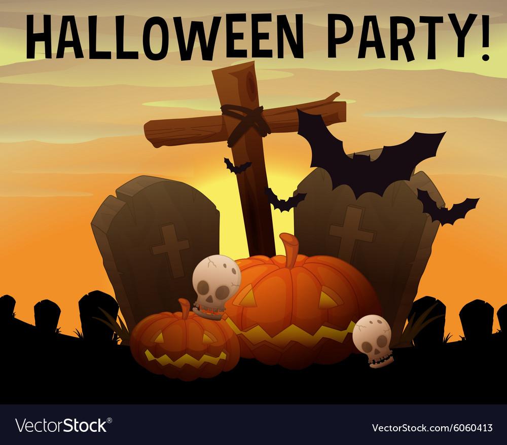 Halloween theme with graveyard and pumpkin
