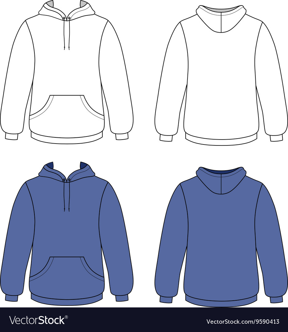 Hoodie sweater front back outlined view