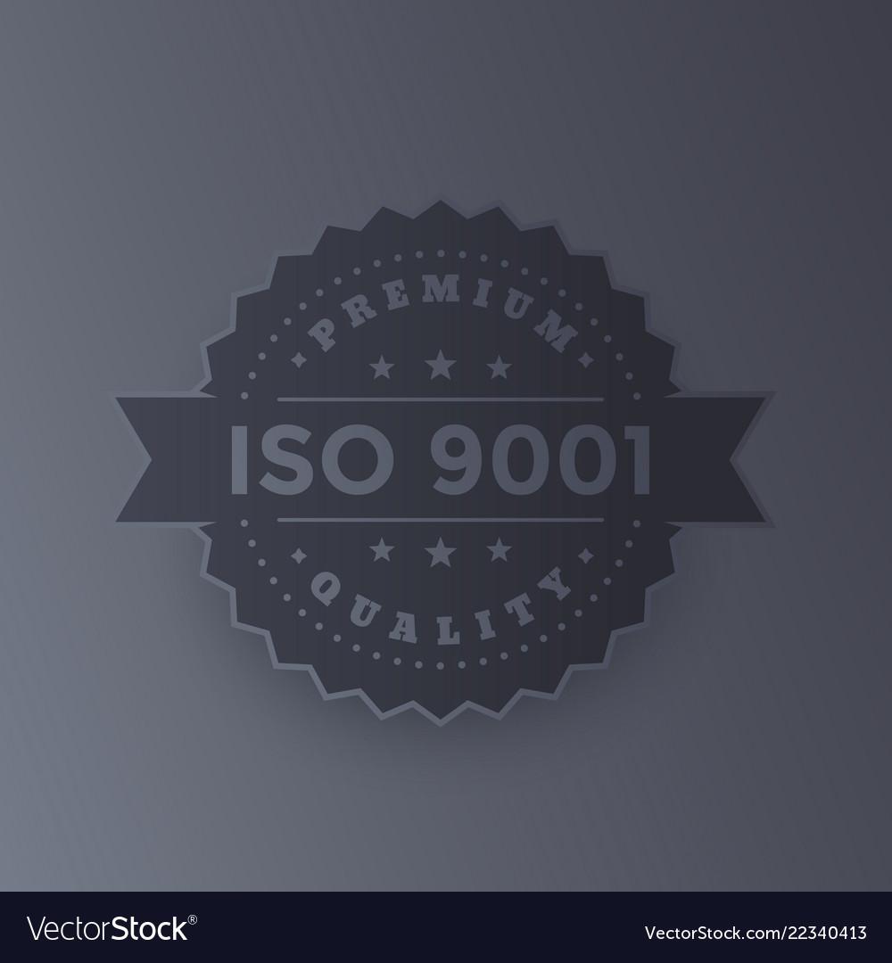 Iso 9001 badge dark metallic version