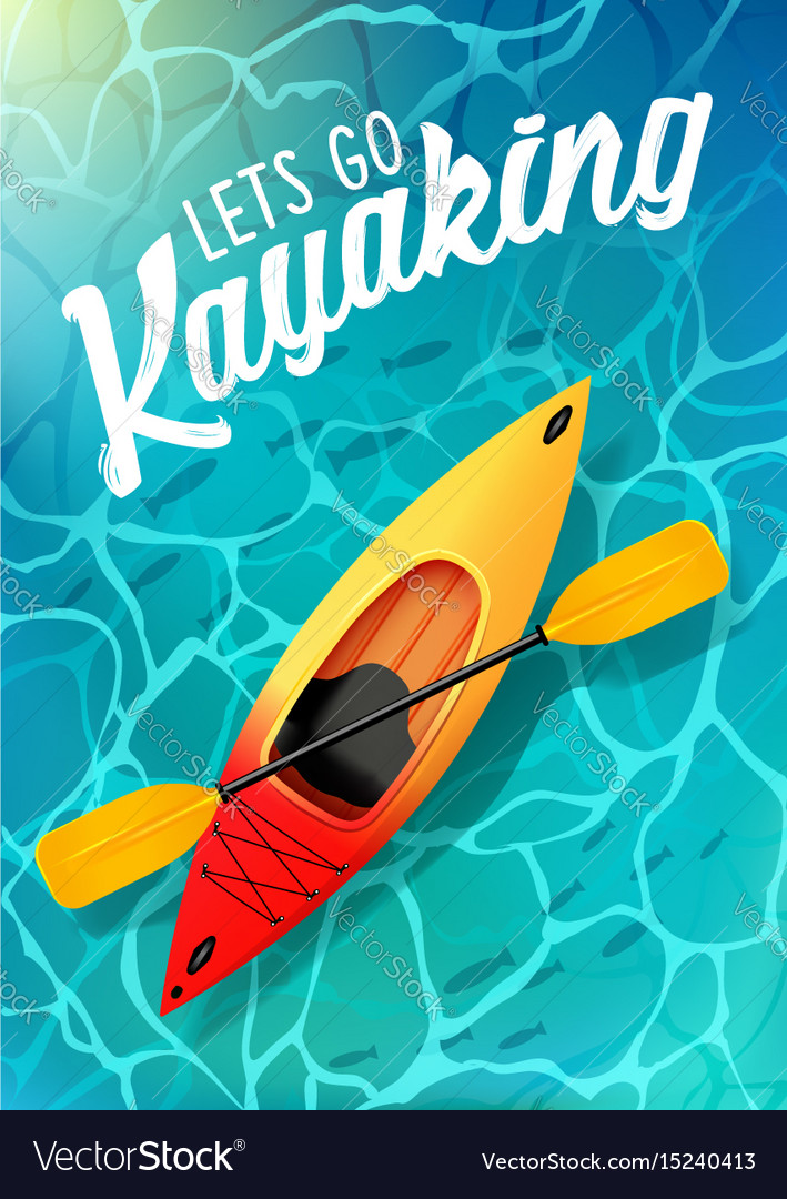 Lets go kayaking summer poster water sea top view