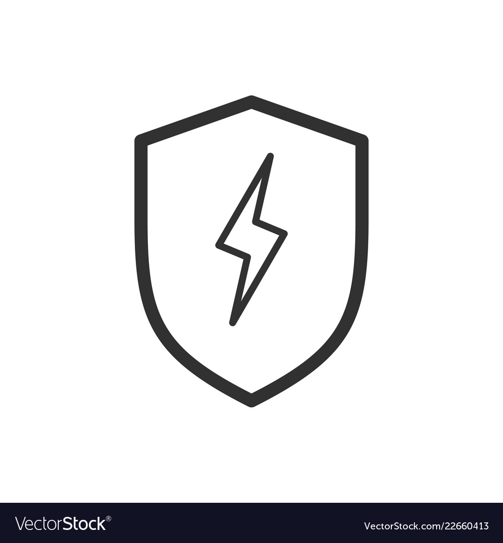 Linear lightning and shield symbol protect logo