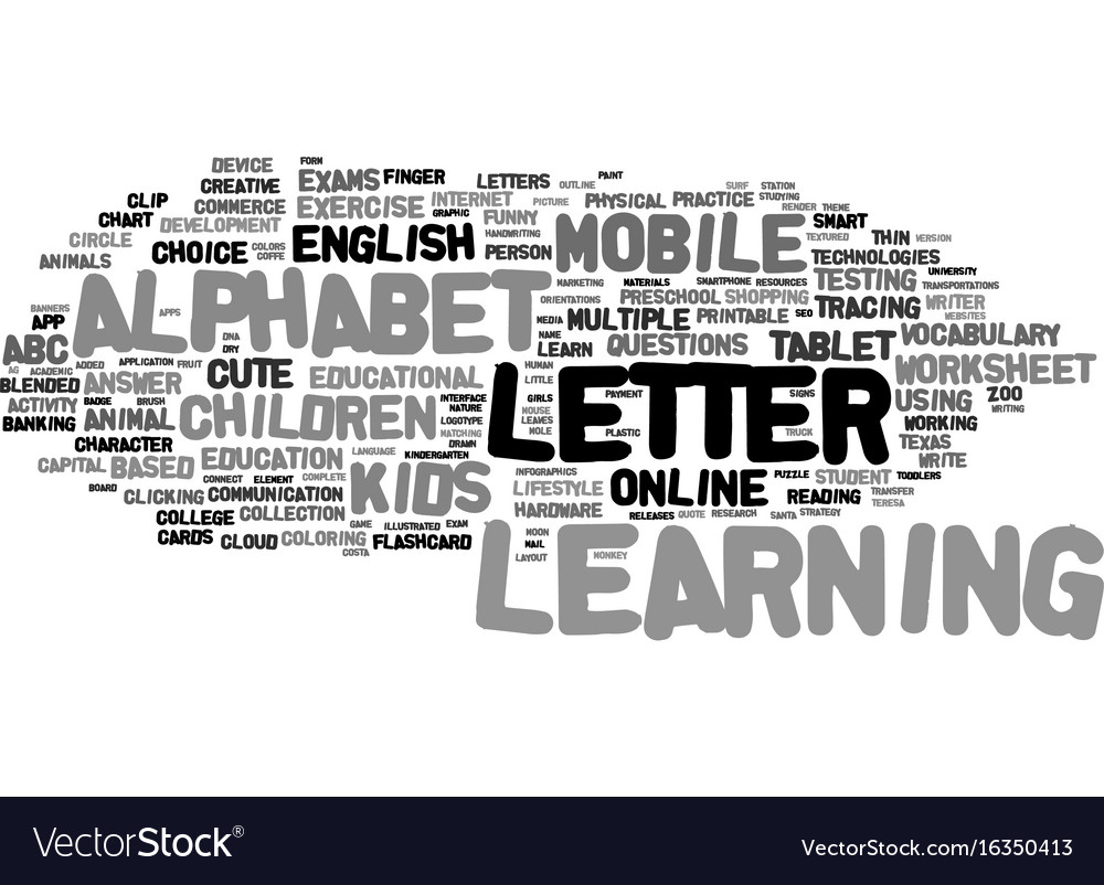 M Learning Word Cloud Concept Royalty Free Vector Image