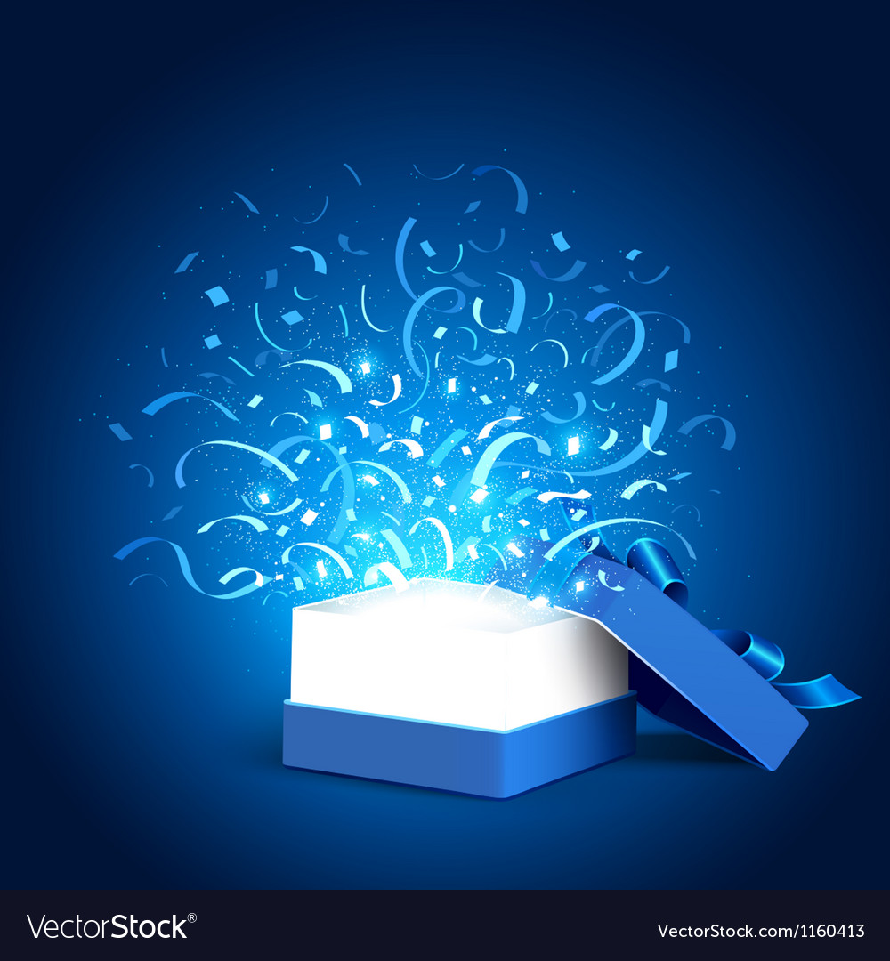 Open holiday box and confetti vector image