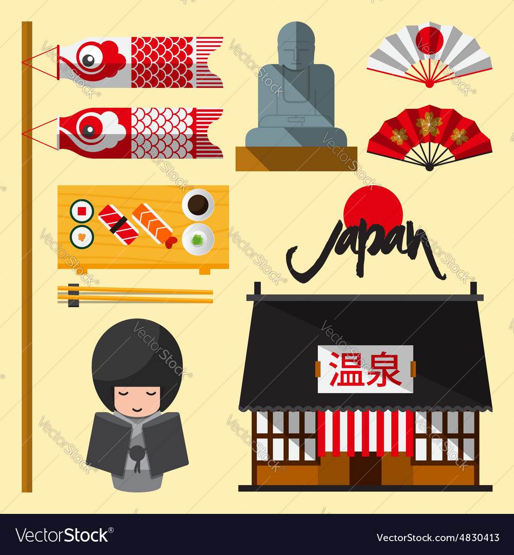 Set japan icon in flat design