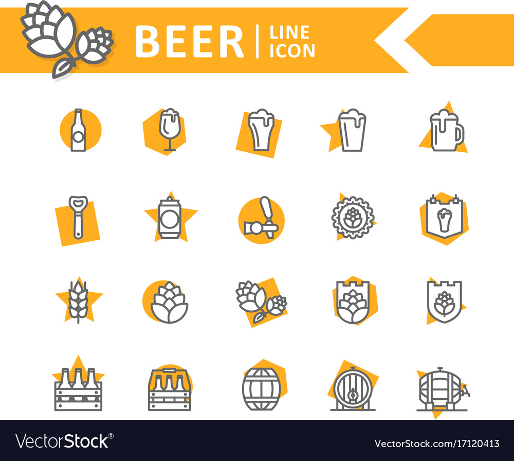 Set of beer and bar pub line icons