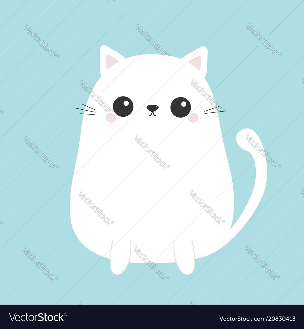 White cute sitting cat baby kitten kawaii animal