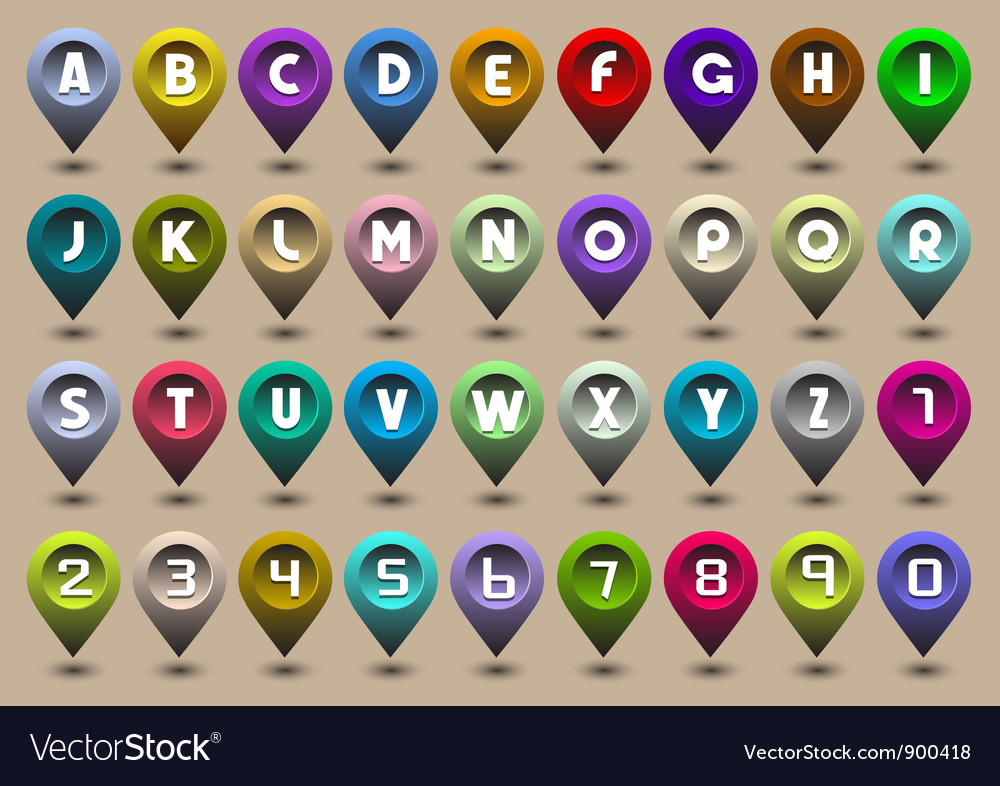 Alphabet letters and numbers in the form of GPS vector image
