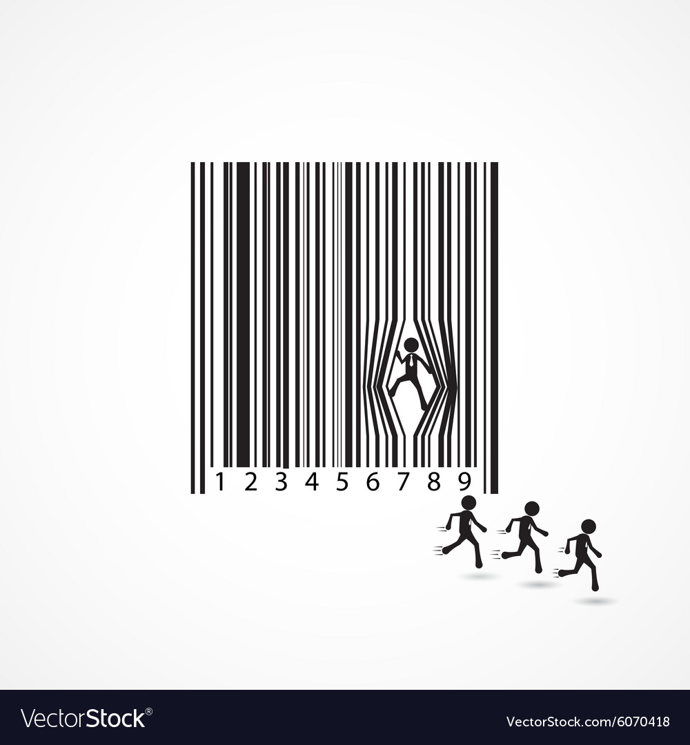 Businessman sign with dilapidation barcode
