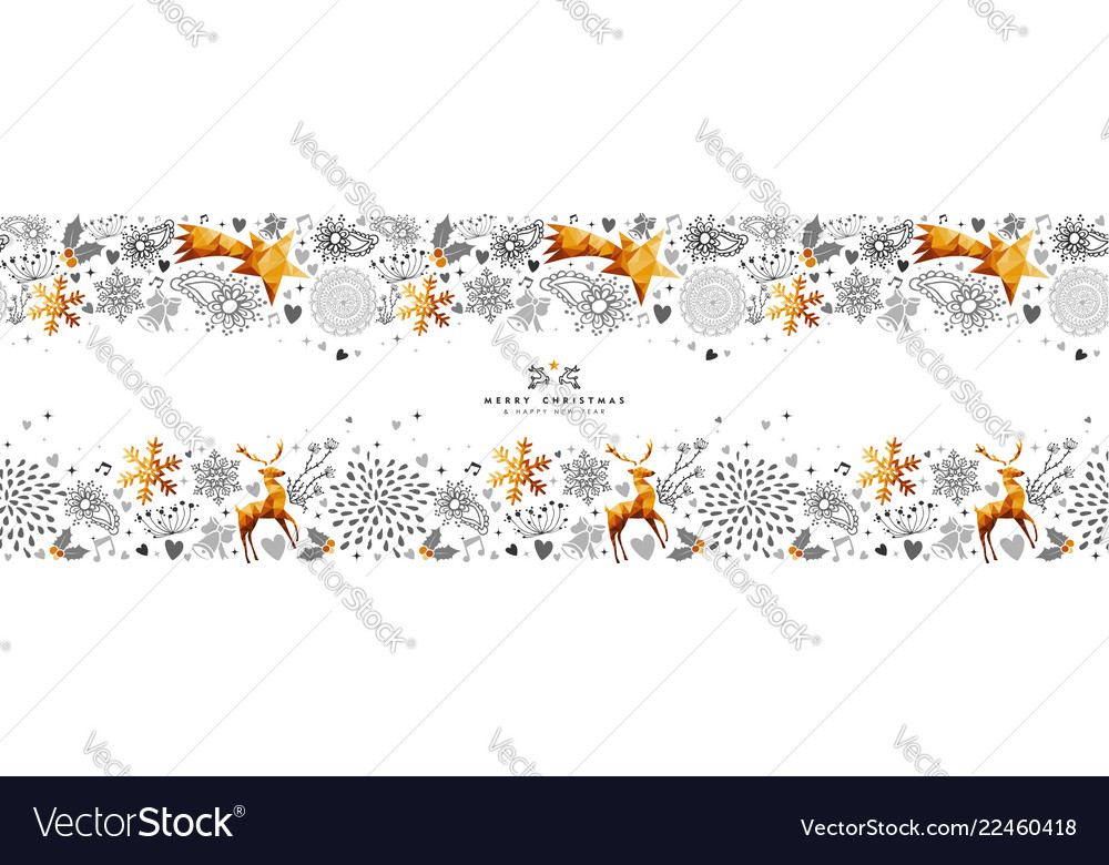Christmas and new year gold decoration web banner