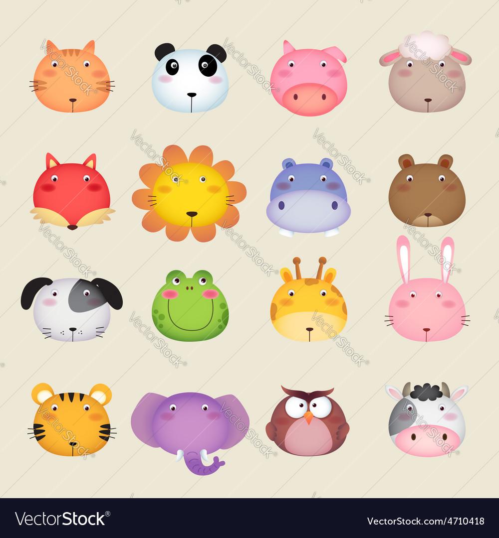 Cute cartoon animal head