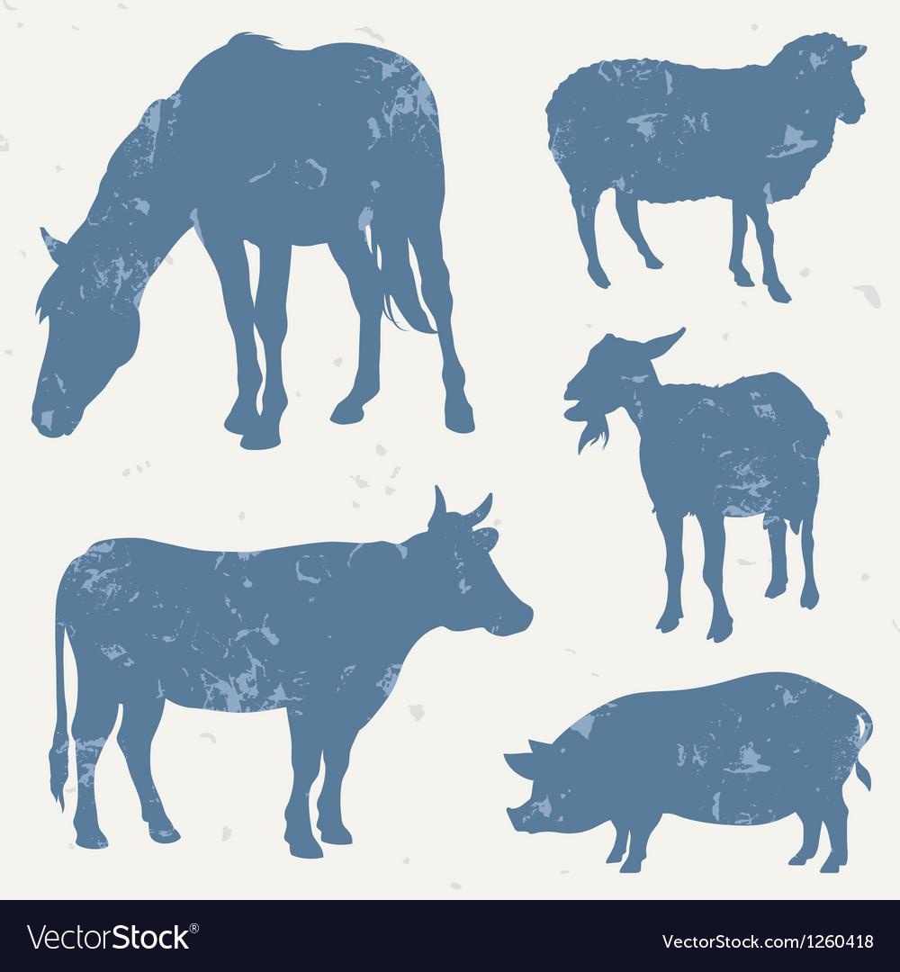 Farm animals with grunge effect