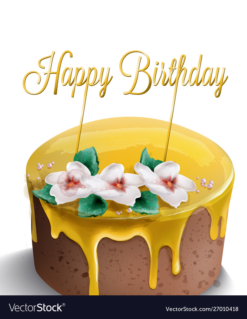 Remarkable Happy Birthday Cake Watercolor Yellow Top Golden Vector Image Birthday Cards Printable Benkemecafe Filternl
