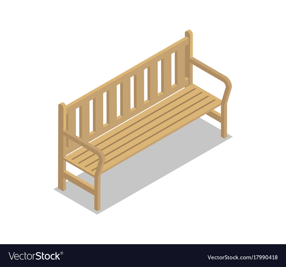 Park wooden bench isometric 3d icon