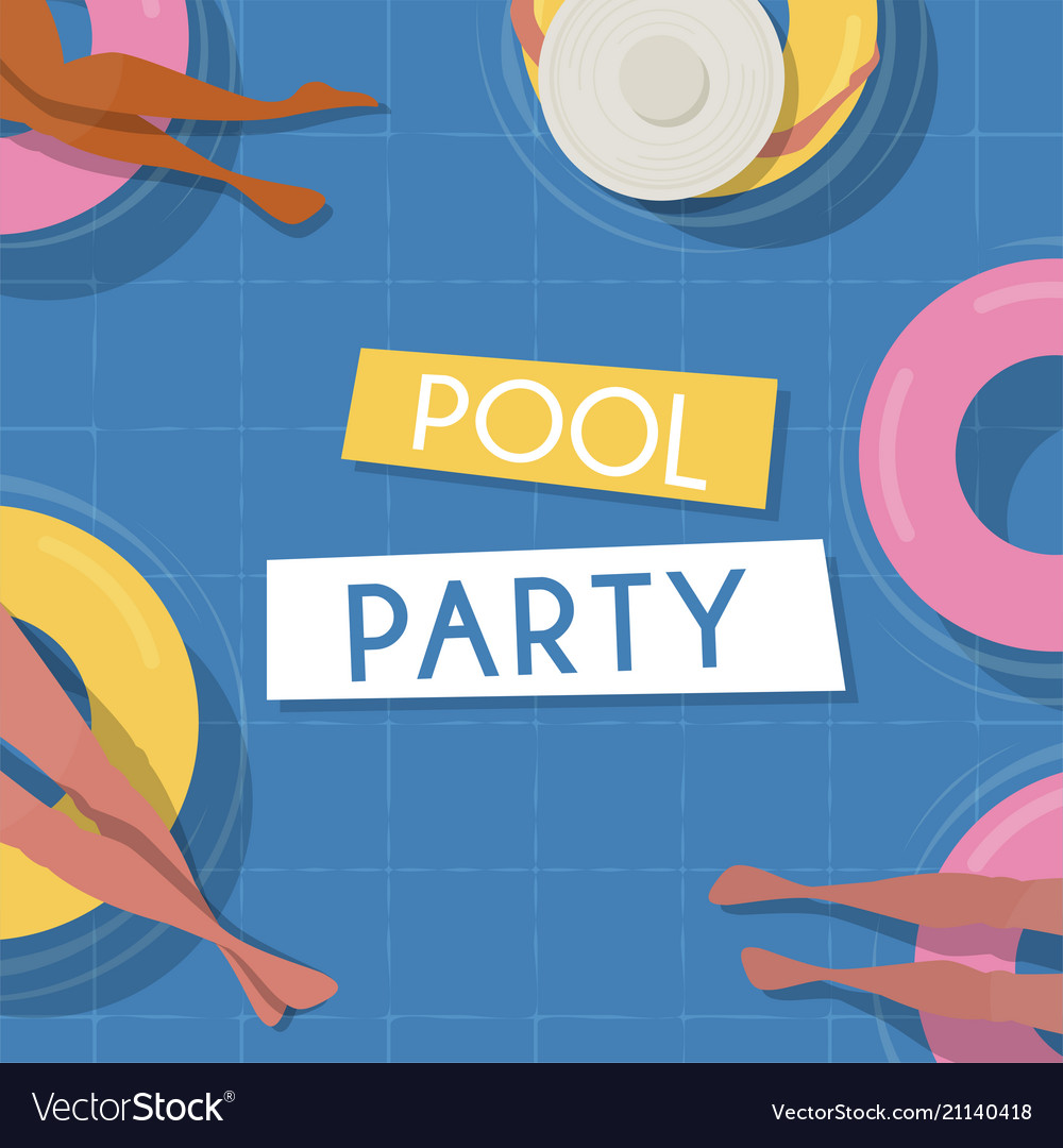 Pool party invitation template top view pool vector image maxwellsz