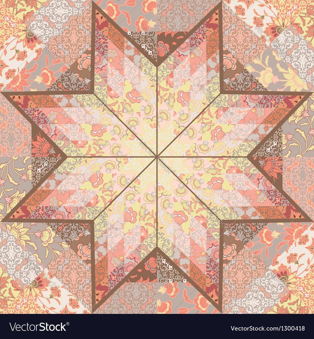 Quilt seamless pattern background star design vector image