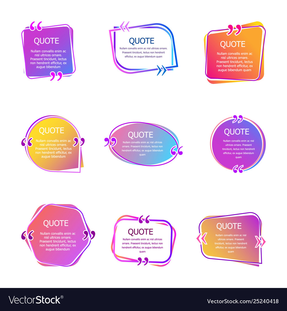 Quote boxes with text set color quotes bubble