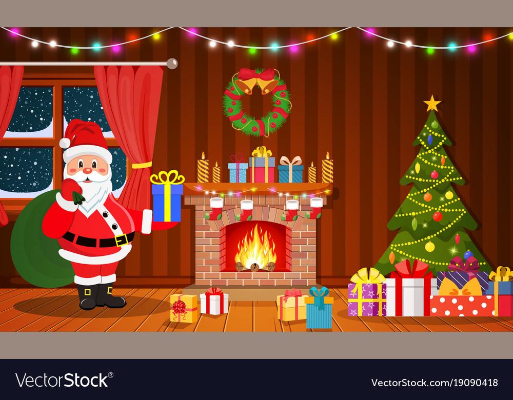 Santa claus in christmas room interior