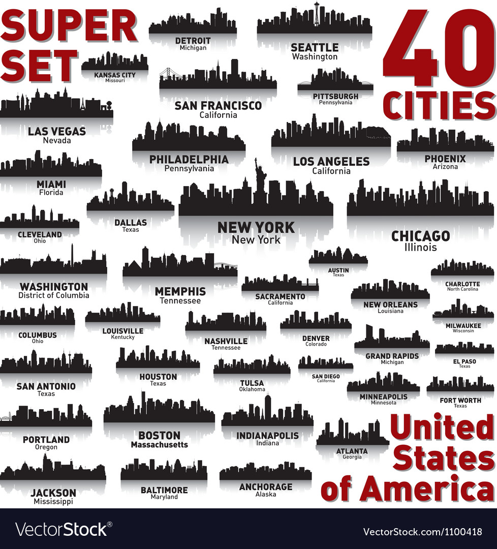 Super city skyline set United States of America