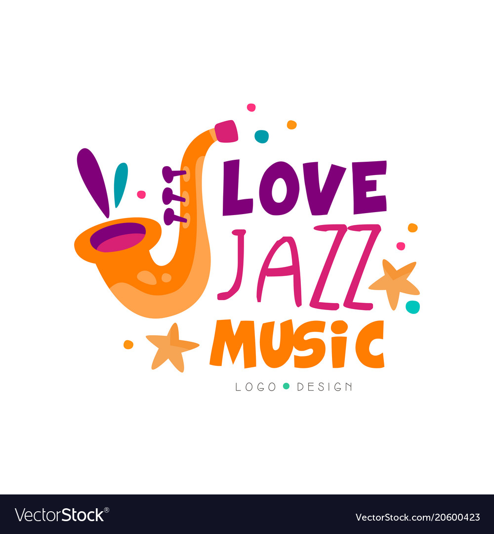 Abstract music logo with saxophone for jazz live