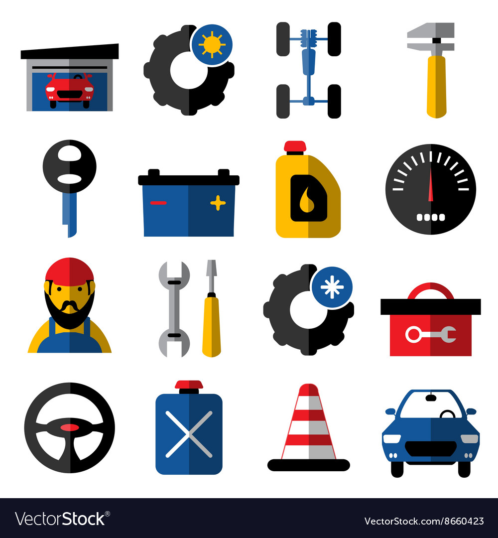 Car Service Flat Icons Set
