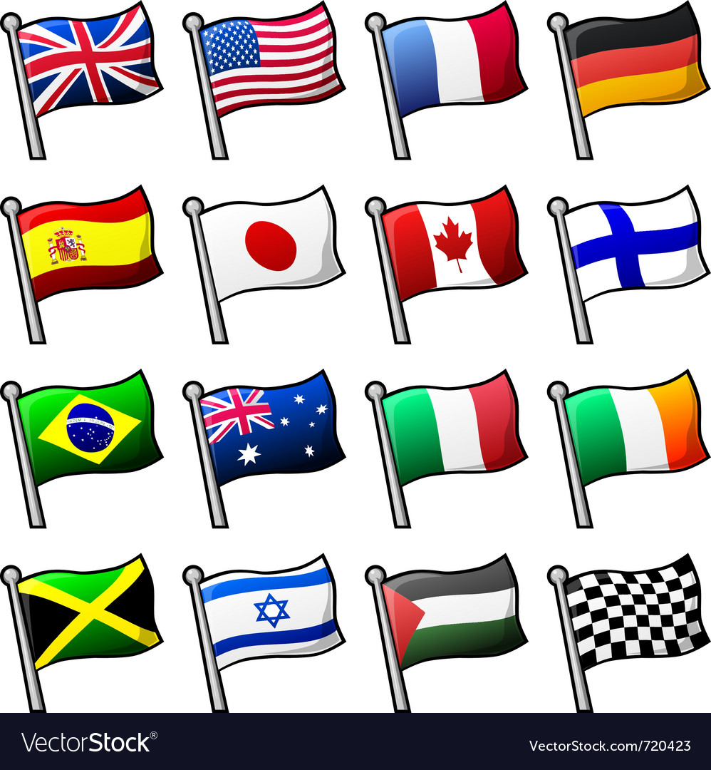 cartoon flags royalty free vector image vectorstock rh vectorstock com cartoon flavour cartoon flask
