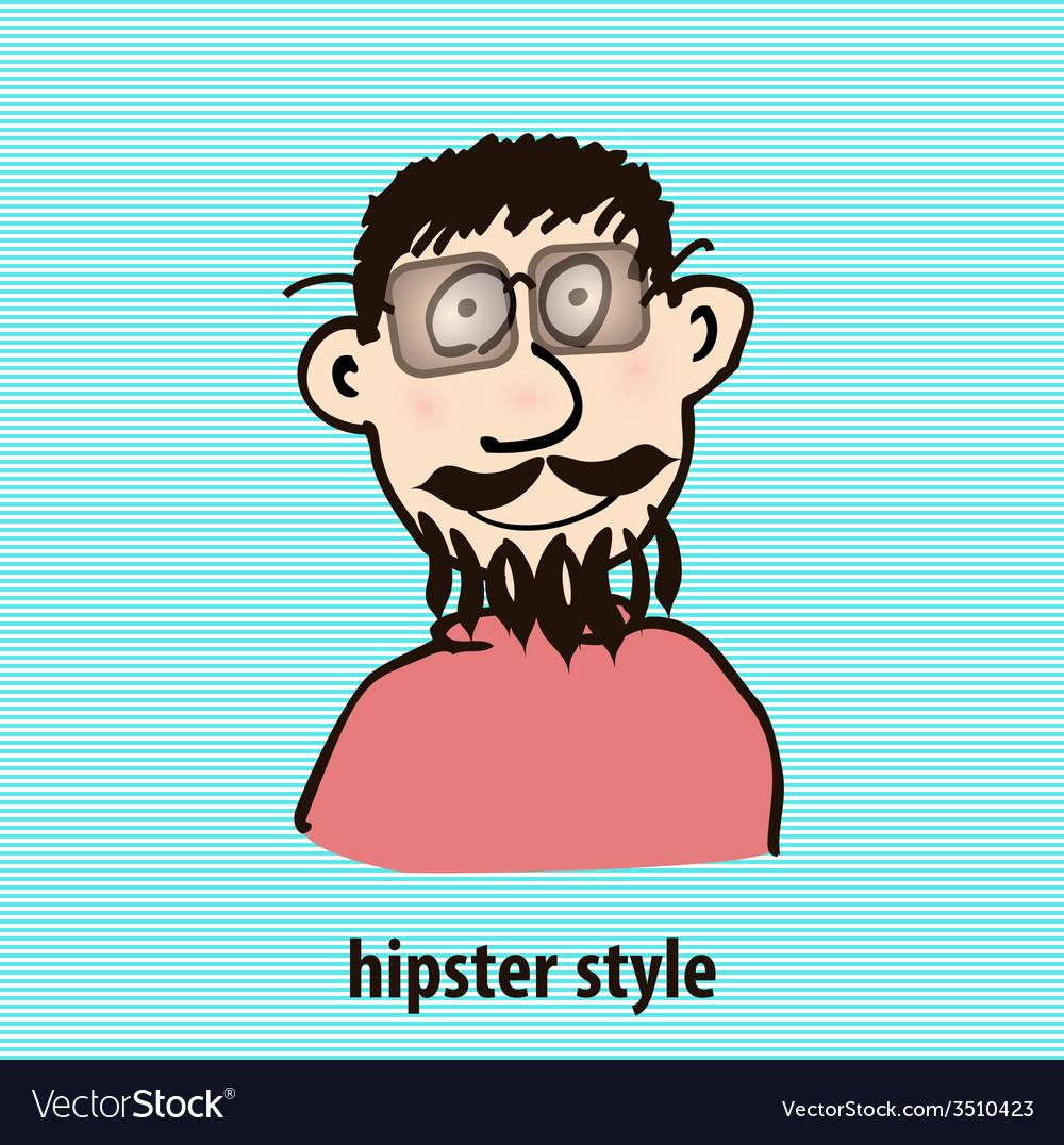 Cartoon hipster style